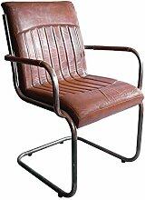 """Freischwinger-Sessel """"Draper"""" Vintage-Leder Stahlrohr Echtleder"""