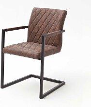 Freischwinger Sessel in Braun Kunstleder Schwarz