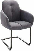 Freischwinger Sessel in Grau Kunstleder Edelstahl