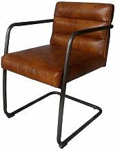 Freischwinger-Sessel Murray Vintage Leder Stahlrohr Echtleder Sessel