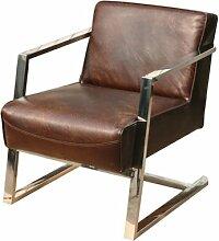 Freischwinger-Sessel Staines Echtleder Sessel Vintage Cigar dunkelbraun