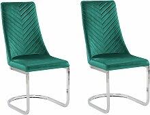 Freischwinger Stuhl 2er Set Grün Samtstoff mit