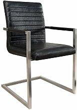 Freischwinger Stuhl IMPERIAL antik schwarz mit gepolsterten Armlehnen und Edelstahlgestell Esszimmerstuhl