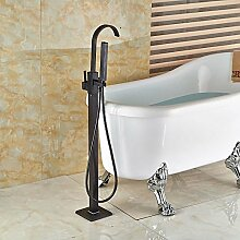 Freistehende Badewanne Armatur einzigen Griff Set Bad Badewanne mit Handdusche Öl eingerieben, weiße Bronze