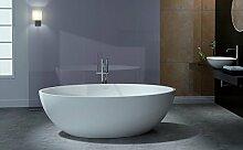 Freistehende Badewanne aus Mineralguss RELAX weiß
