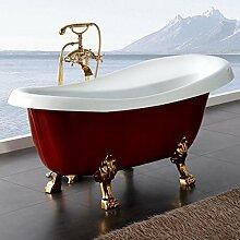 Freistehende Badewanne Nostalgie Wanne Design Standbadewanne 170 x 75 cm Rot gold inkl. Armatur