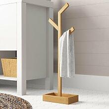 Handtuchalter aus Bambusholz Spetebo Bambus Handtuchst/änder mit 3 Stangen