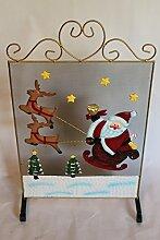 Freistehendes Kaminschutzgitter aus Metall mit Weihnachtsmann und Rentier