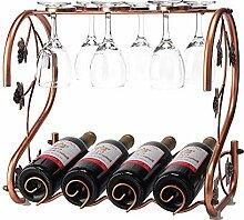 Freistehendes Weinregal für 4 Weinflaschen und 6