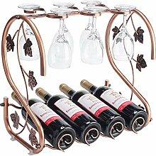 Freistehendes Weinregal mit Glashalter, für 4