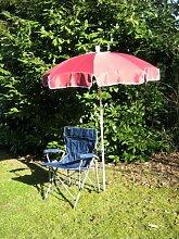 Freizeit-Faltstuhl mit Sonnenschirm bordeaux 150 cm + Holly ® 360 ° GVC Universalgelenk- Halter - 25 € - mit Gummischutzkappen - VERTRIEB - Holly ® Produkte STABIELO - holly sunshade -