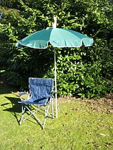 Freizeit-Faltstuhl mit Sonnenschirm dunkelgrün 150 cm + Holly ® 360 ° GVC Halter - 25 EUR - mit Gummischutzkappen - VERTRIEB - Holly® Produkte STABIELO - holly-sunshade ®