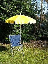 Freizeit-Faltstuhl- mit Sonnenschirm gelb 150 cm + Holly ® 360 °GVC Universalgelenk - Halter - 25 € - mit Gummischutzkappen- VERTRIEB - Holly® Produkte STABIELO - holly sunshade -