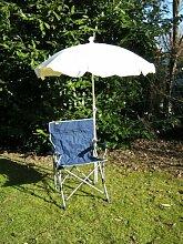 Freizeit-Faltstuhl mit Sonnenschirm natur 150 cm +Holly ® 360 °GVC Universalgelenkhalterung GVC - 25 EUR - mit Gummischutzkappen - VERTRIEB - Holly ® Produkte STABIELO - holly-sunshade ®
