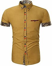 Freizeit Hemd, Herren Mode Knopf Design Revers