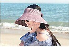 Freizeitschirm Sonnencreme Stroh Strand Hut Sommer Falten Strand Caps Damen wilden oberen Sonnenhut Sonnenschutz Bogen dekorative Kappe (Color : Rosa)