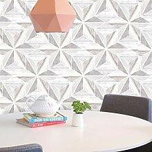 Fresco Grau Scandi Geometrische Tapete aus Holz