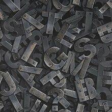 Fresco Letters Gris Typograph Tapete, Schwarz/Grau
