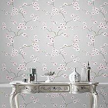 Fresco Tapete, Apfelblütenbaum, Grau