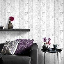 Fresco Tapete, Holzoptik, Herzmotiv, Grau