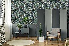 Fresco Tapete Kolibri, tropische Blumen, Marineblau