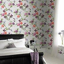 Fresco Tapete, orientalische Blumen, Vögel, Weiß