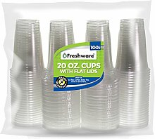 Freshware Kunststoffbecher mit Deckel, 600 ml