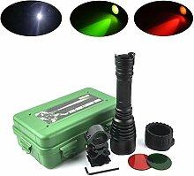Fridemok LED Taktische Taschenlampe5-Modus mit Weiß / Rot / Grün Licht Outdoor Wasserdicht Fackel, Powered Tactical Taschenlampe für Camping Wandern etc