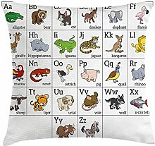 fringcoook Educational Throw Pillow Cushion Cover, Alphabet Learning Chart with Cartoon Animals Names Letters Upper and Lowercase, Decorative Square Accent Pillow Case, 18 X 18 Inches, Multicolor