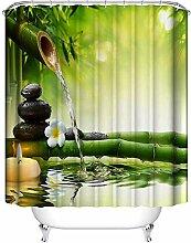 Frisch Duschvorhänge grün Bambus Duschvorhang