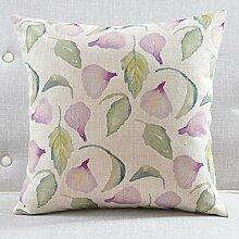 Frische chinesische Garten Kissen mehr Farben Baumwolle Mischung Sofa Gurtpolster Pflanzen auf Kissenbezüge-D 60x60cm(24x24inch)VersionB