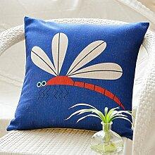 Frische Garten handgemalten Aquarell Baumwolle Kissen Blume Taille Kissen Office Sofakissen-M 45x45cm(18x18inch)VersionB