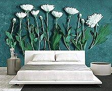 Frische grüne Pflanze weiße Blumen Wallpaper