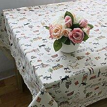 Frische Kätzchen Baumwolle Leinen Tischdecke