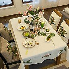 Frischen Sommerlichen Stickerei Tischdecke/Garten Blume Tischsets/American Land Baumwolle Stoff Tischdecke-B 230x150cm(91x59inch)