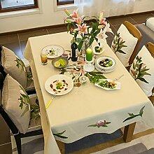 Frischen Sommerlichen Stickerei Tischdecke/Garten Blume Tischsets/American Land Baumwolle Stoff Tischdecke-A 130x130cm(51x51inch)