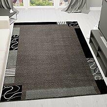 Frisee Kurzflor Teppich, Modern in Grau Schwarz, Muster mit Umrandung Bordüre - ÖKO TEX Zertifiziert, Maße: 120x170 cm