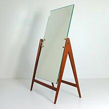 Frisiertisch und Spiegel aus Teak & Messing von