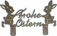 Frohe Ostern mit 2 Hasen (Rostdeko) (Metall, Rost)