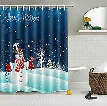 Frohe Weihnachten Duschvorhang Zuhause Dekor,Weißer Schneemann,Dunkelblauen Himmel Wasserdicht Polyester Stoff Badezimmer Duschvorhang Set Mit Haken,150W x180H CM (60 x 72 Zoll)