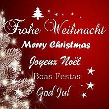 Frohe Weihnachten in versch. Sprachen Wandttattoo Fensteraufkleber,Sticker,Dekosticker,Wallart, (Gold)