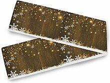 Frohe Weihnachten Tischläufer Schneeflocke Holz