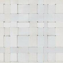 Front 4051 Vlies-Tapete geflochtene Papierstreifen in weiß, zartgrau und hellbeige. Ma