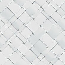 Front 4052 Vlies-Tapete diagonal geflochtene Papierstreifen in weiß und zartgrau. Ma