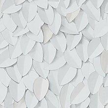 Front 4056 Vlies-Tapete zart gezeichnete Blätter in weiß und zartgrau, vereinzelt hellbeige