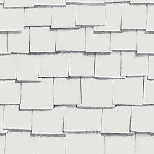 Front 4061 Vlies-Tapete zart gezeichnete Papierblätter schindelartig in schwarzweiß