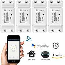 Frontoppy WiFi Smart Switch mit Alexa / Google Home Voice Control, Universal Wireless DIY APP-Steuerung Heimautomatisierung Modul with Countdown und Timer-Funktion für iOS Android Smartphone,AC 90-250V 2200W (4 Packung)