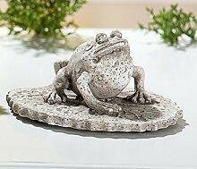 Frosch auf Blatt antik-grau 2-sort. von GILDE Gartendeko Polyresin (Nr.2)