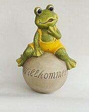 Frosch auf Kugel Lurch Gartendeko Deko Garten Tier