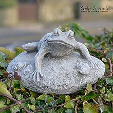 Frosch auf Rock Hand aus Stein/Gartenfigur Skulptur